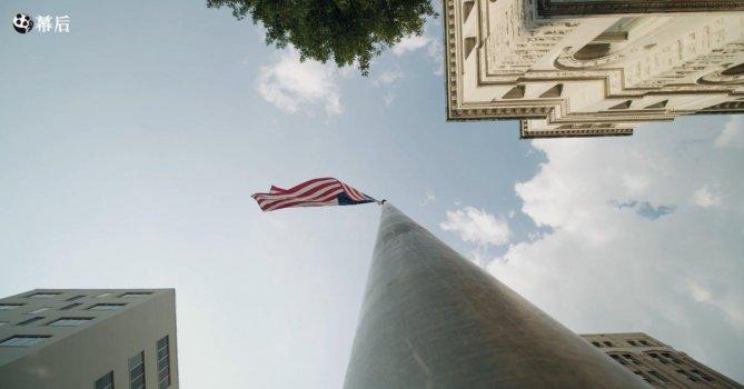 2958501|低角度拍摄美国国家国旗4K免费素材视频