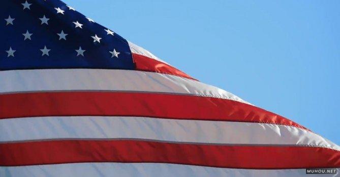 854753|蓝天和美国国旗特写拍摄免费素材视频