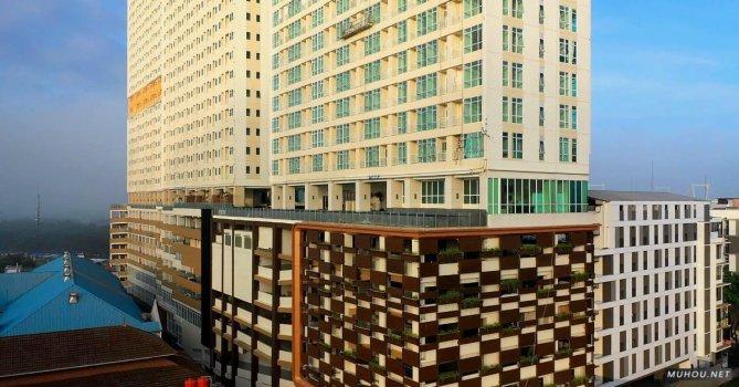 3674440|建筑物正面公寓航拍4k素材视频
