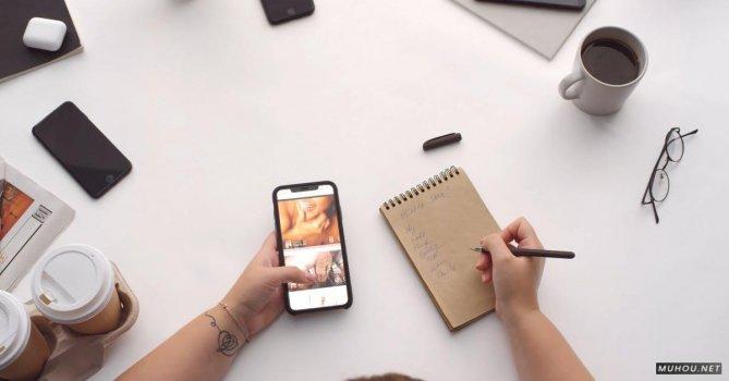 3251842|办公桌上的手机和笔记本工作4K免费素材视频