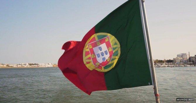 3505387|海边的葡萄牙国旗挥动免费素材视频