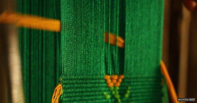 2121158 织布机编制布料绿色线免费素材视频