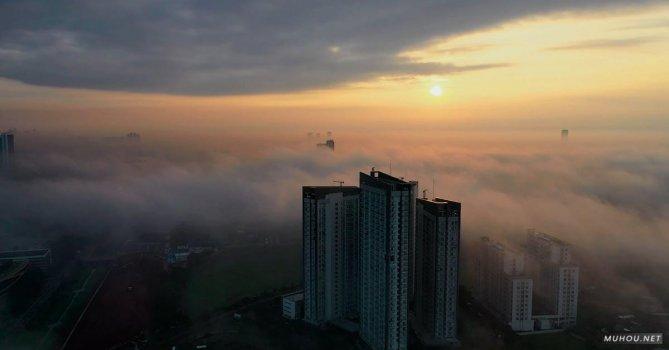 3653288|航拍美丽的城市上空云层日出4k视频素材