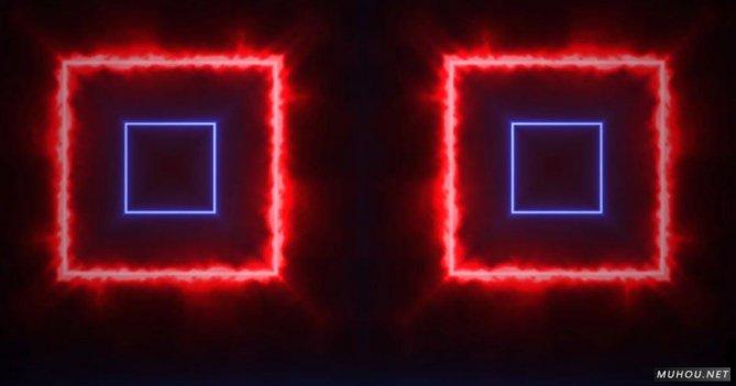 VJ平方发光燃烧正方形视觉动态视频素材
