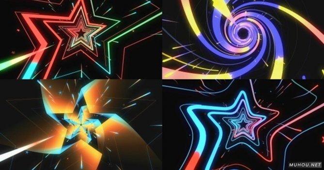 Vj星星五角星螺旋VJ视频素材