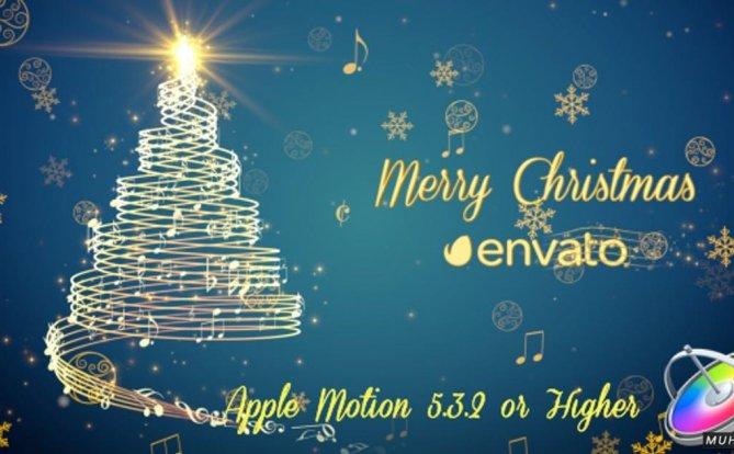 音乐圣诞节金色圣诞树FCPX/Apple Motion视频模板