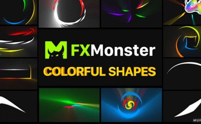 五颜六色的形状发光元素FCPX视频模板