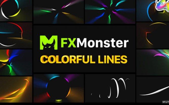 五颜六色的飞线发光元素FCPX视频模板