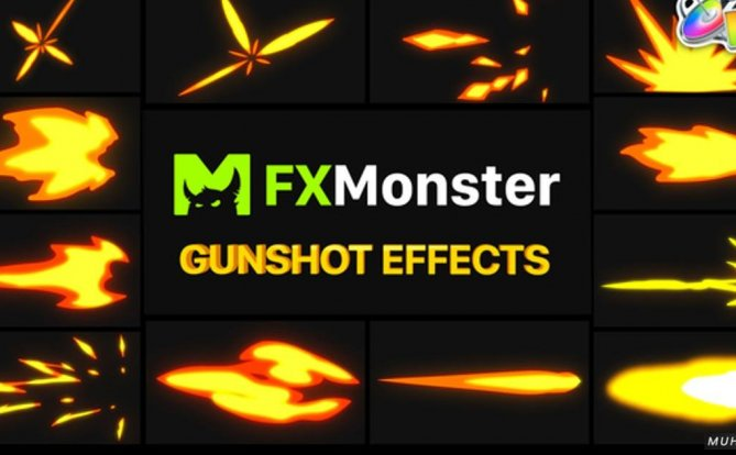 火焰枪火特效喷射元素FCPX视频模板