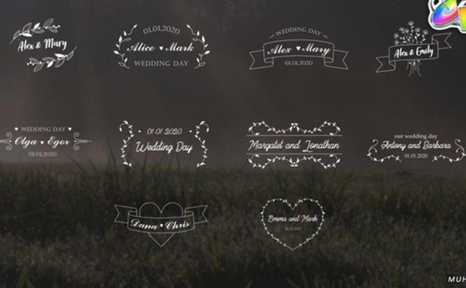 婚礼标题浪漫文字排版FCPX视频模板