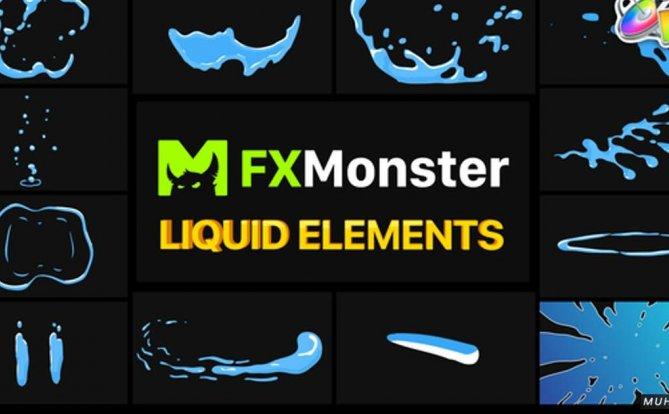 Liquid FX 液体元素叠加过渡FCPX视频模板