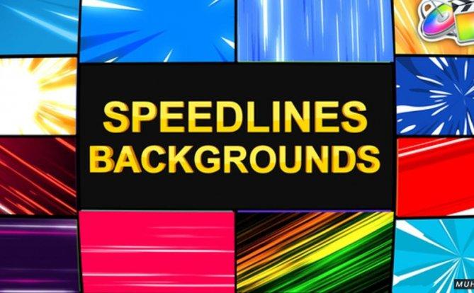 Speedlines背景元素动力转场FCPX视频模板